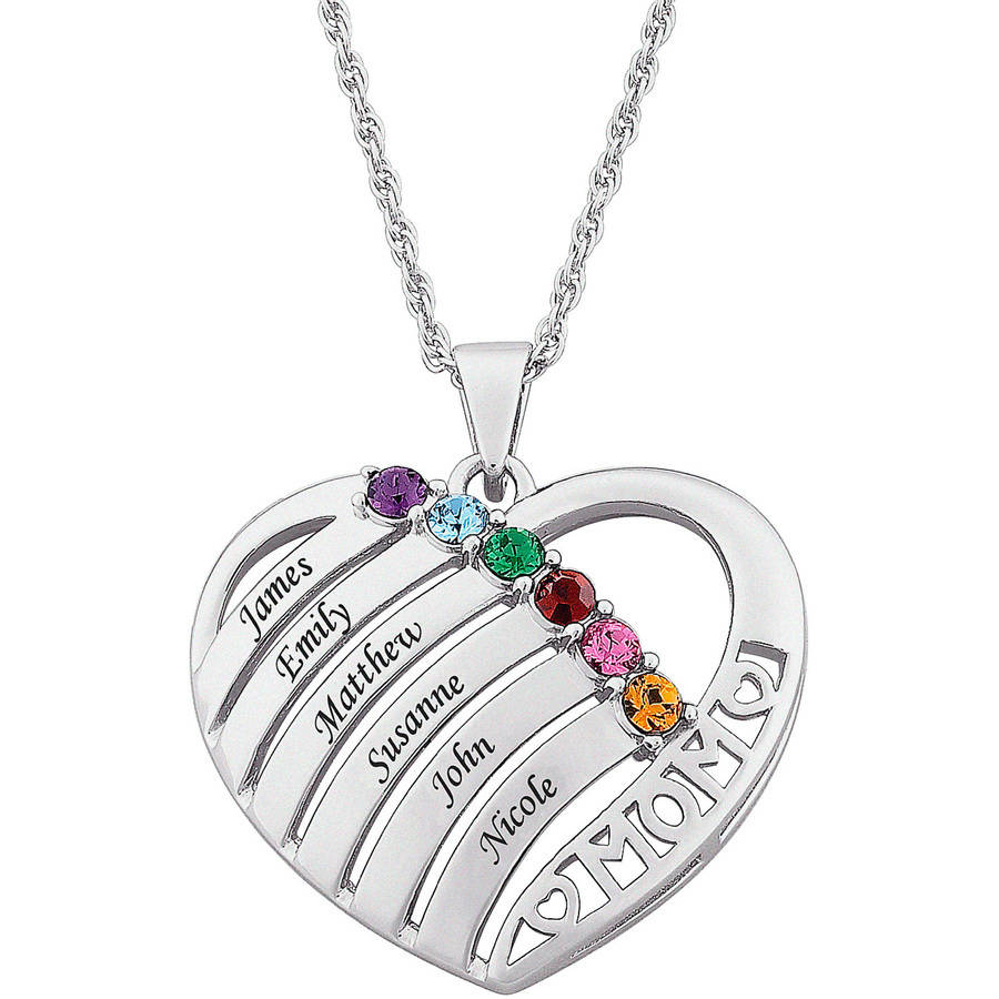 Personalized Mother Birthstone & Name Heart Necklace