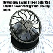 New energy saving Clip-on Solar Cell Fan Sun Power energy Panel Cooling Black