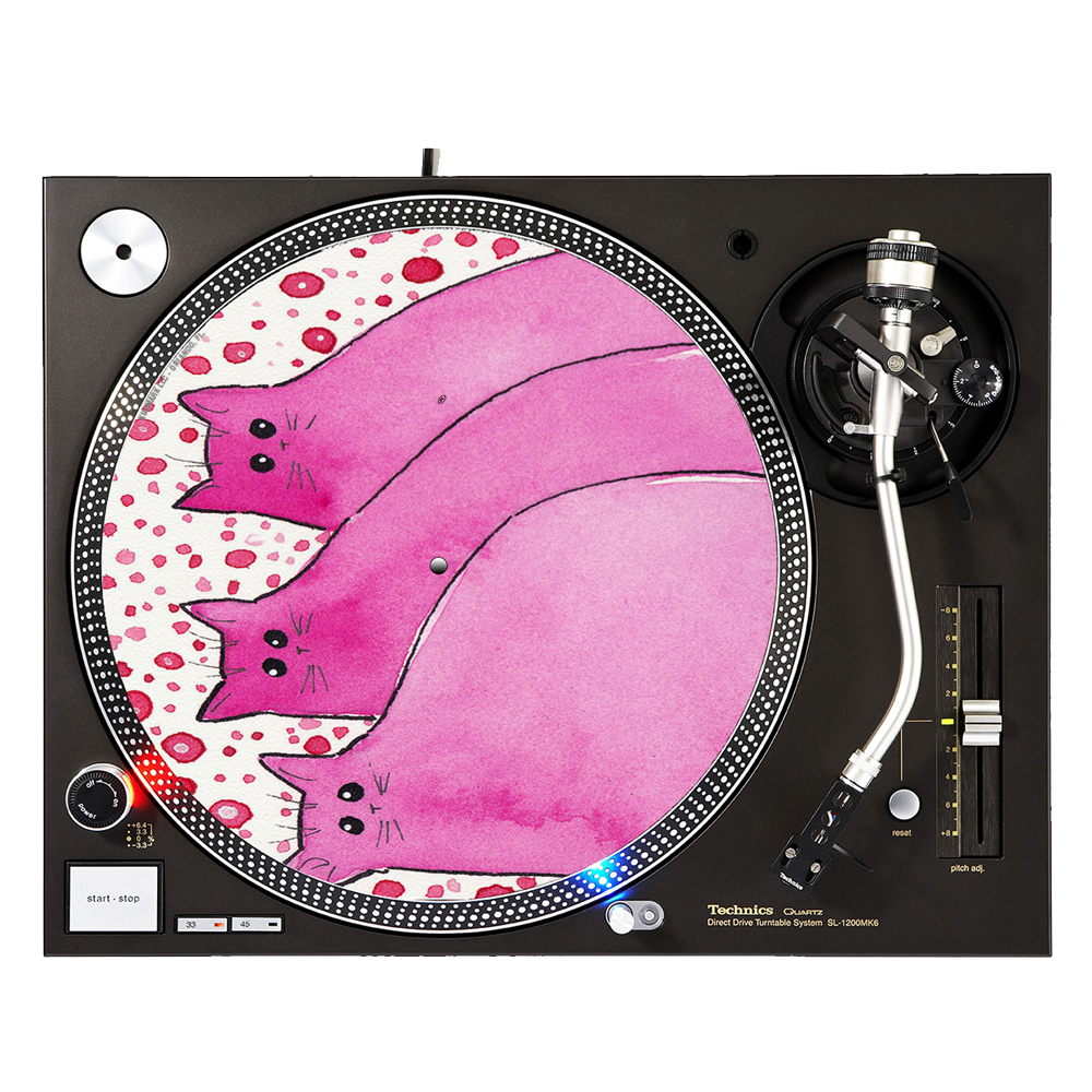 "KuzmarK™ 12"" DJ Turntable Slipmat - Cherry Pink Chunky Kitties Abstract Cat Art by Denise Every"