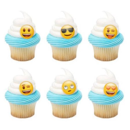 12 Emoji Moods Cupcake Cake Rings Birthday Party Favors Toppers (Emoji Ring)