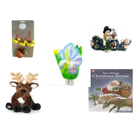 Christmas Fun Gift Bundle [5 Piece] - Martha Stewart Woodland  Set of 4 Duck Ornaments - Crazy Mountain Snowman Family