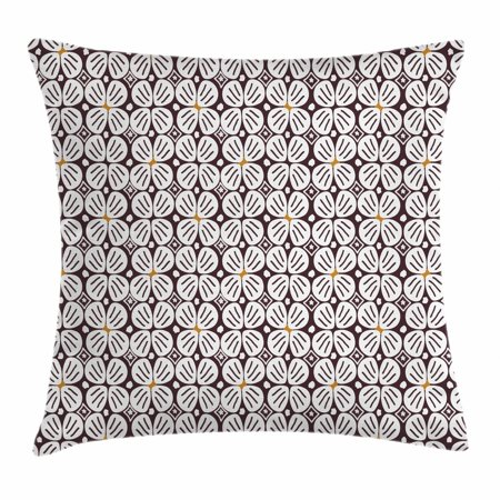 Jasmine Throw Pillow Cushion Cover, Abstract Doodle Jasmine Motifs in Repeating Order Retro Print, Decorative Square Accent Pillow Case, 16 X 16 Inches, White Earth Yellow Dark Brown, by Ambesonne