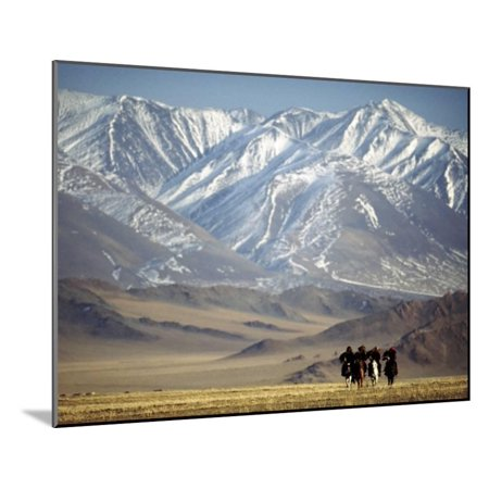 Four Eagle Hunters in Tolbo Sum, Golden Eagle Festival, Mongolia Wood Mounted Print Wall Art By Amos