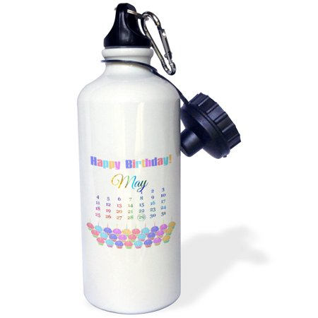 3dRose Birthday on May 29th, Colorful Cupcakes with Candles with Flames, Sports Water Bottle, 21oz