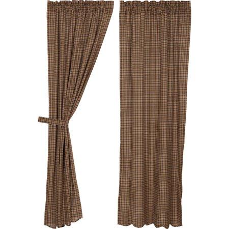Dark Brown Rustic & Lodge Curtains Plainfield Rod Pocket Cotton Tie Back(s) Plaid Panel Pair ()