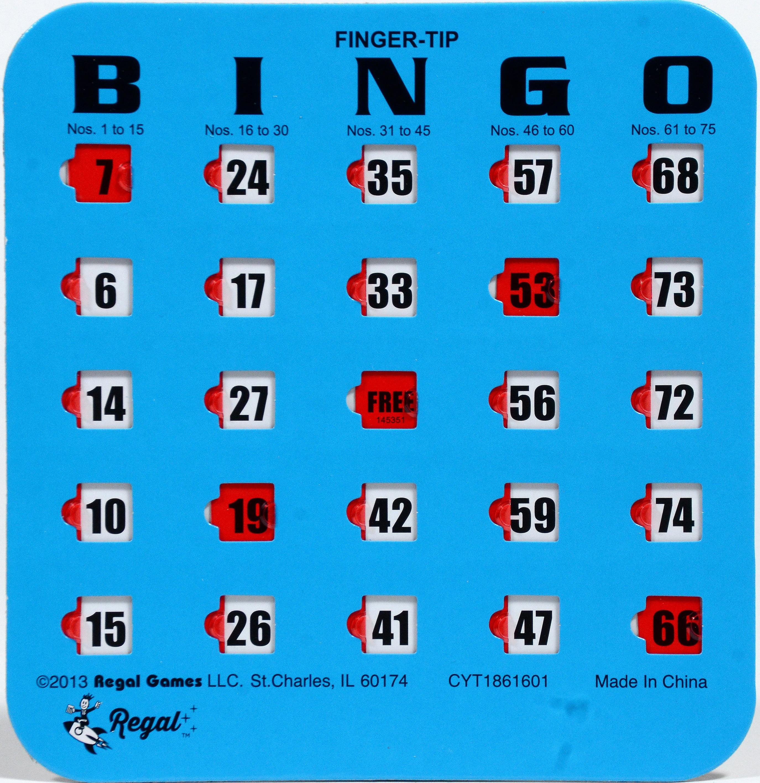 Regal Games 200 Blue Fingertip Shutter Slide Bingo Cards