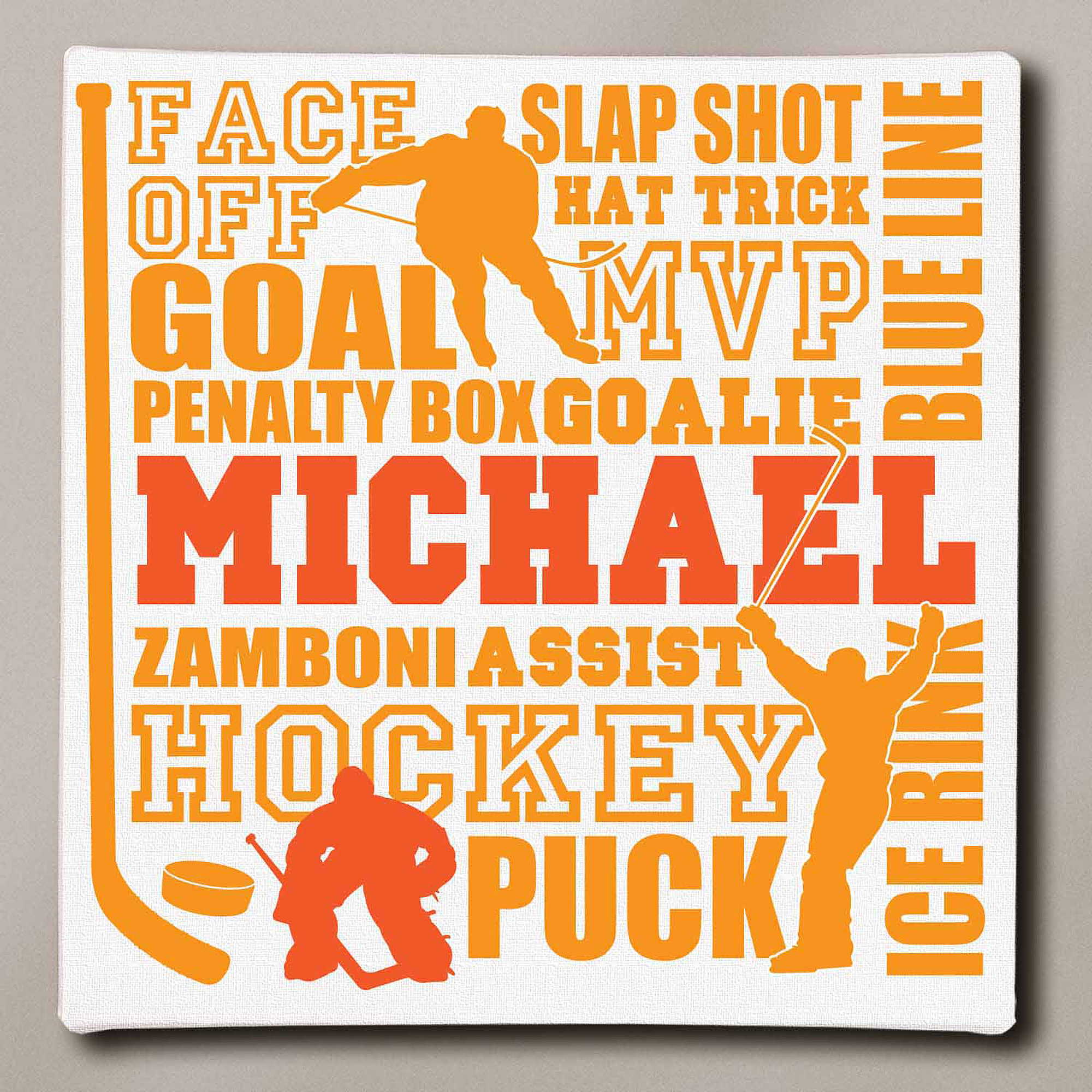 "Personalized Hockey Typography Canvas, 11"" x 11"""