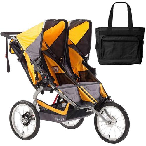 BOB Ironman Duallie Double Stroller with a diaper bag Yellow by