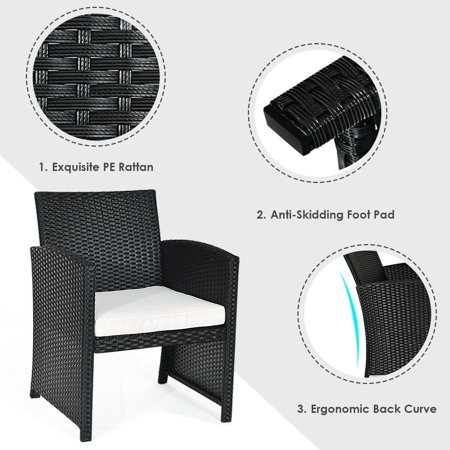 Costway 4PCS Patio Rattan Furniture Conversation Set Cushioned Sofa Table Garden Black - image 2 of 10