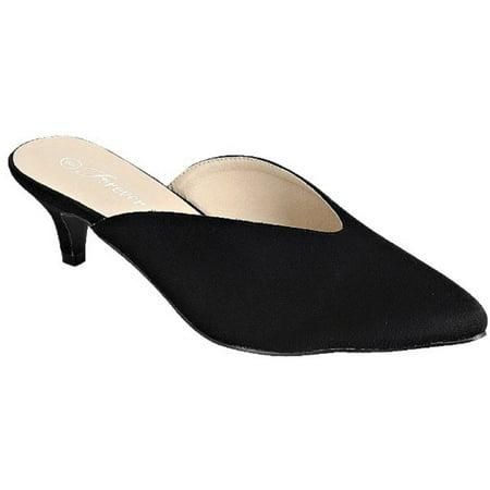 Point-01 Women Pointed Toe Slip On Kitten Heel Pumps Mules Black