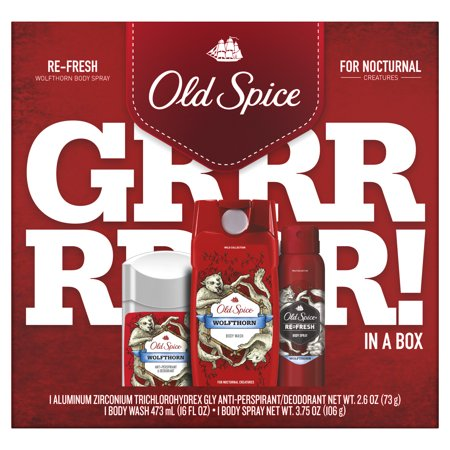 Old Spice Antiperspirant and Deodorant + Body Wash + Body Spray, Wolfthorn Gift Pack