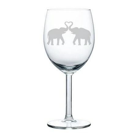 Wine Glass Goblet Elephants Making Heart (10 oz)](Glass Hearts)