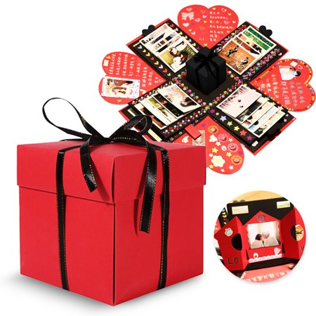 TSV Creative Explosion Gift Box, DIY - Love Memory, Scrapbook, Photo Album Box, as Birthday Gift, Anniversary Gifts, Wedding or Valentine's Day Surprise Box (Small Gift Box)