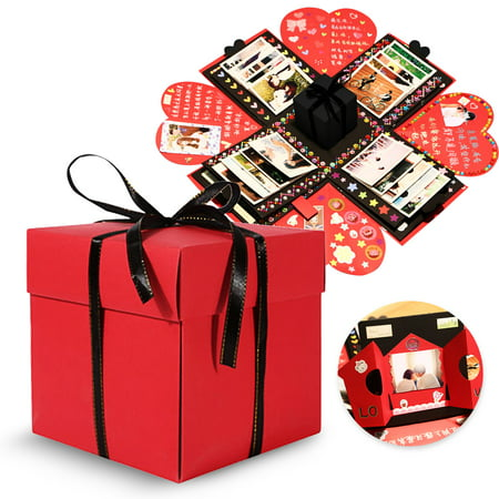 TSV Creative Explosion Gift Box, DIY - Love Memory, Scrapbook, Photo Album Box, as Birthday Gift, Anniversary Gifts, Wedding or Valentine's Day Surprise Box (Diy Valentine Box)