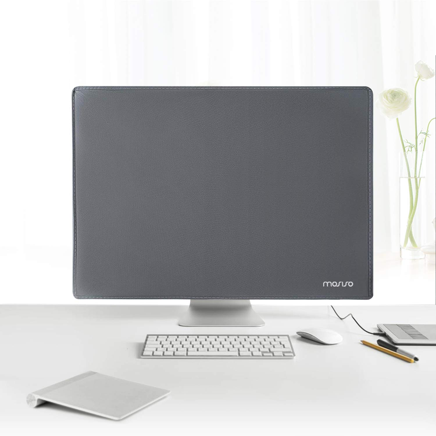 free shipping ab5f0 f76cb Mosiso Protective Dust Cover for LCD Flat Screen Computer Monitors fits  22-25 Inch Computer,Space Gray