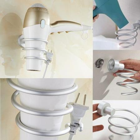 Spiral Bathroom Wall-Mounted Iron Stand Hair Blow Dryer Holder Blower Bracket