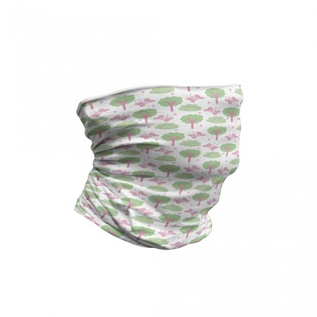 Forest Neck Gaiter, Trees Bushes Butterflies, Unisex, Pink and Pale Green, by Ambesonne