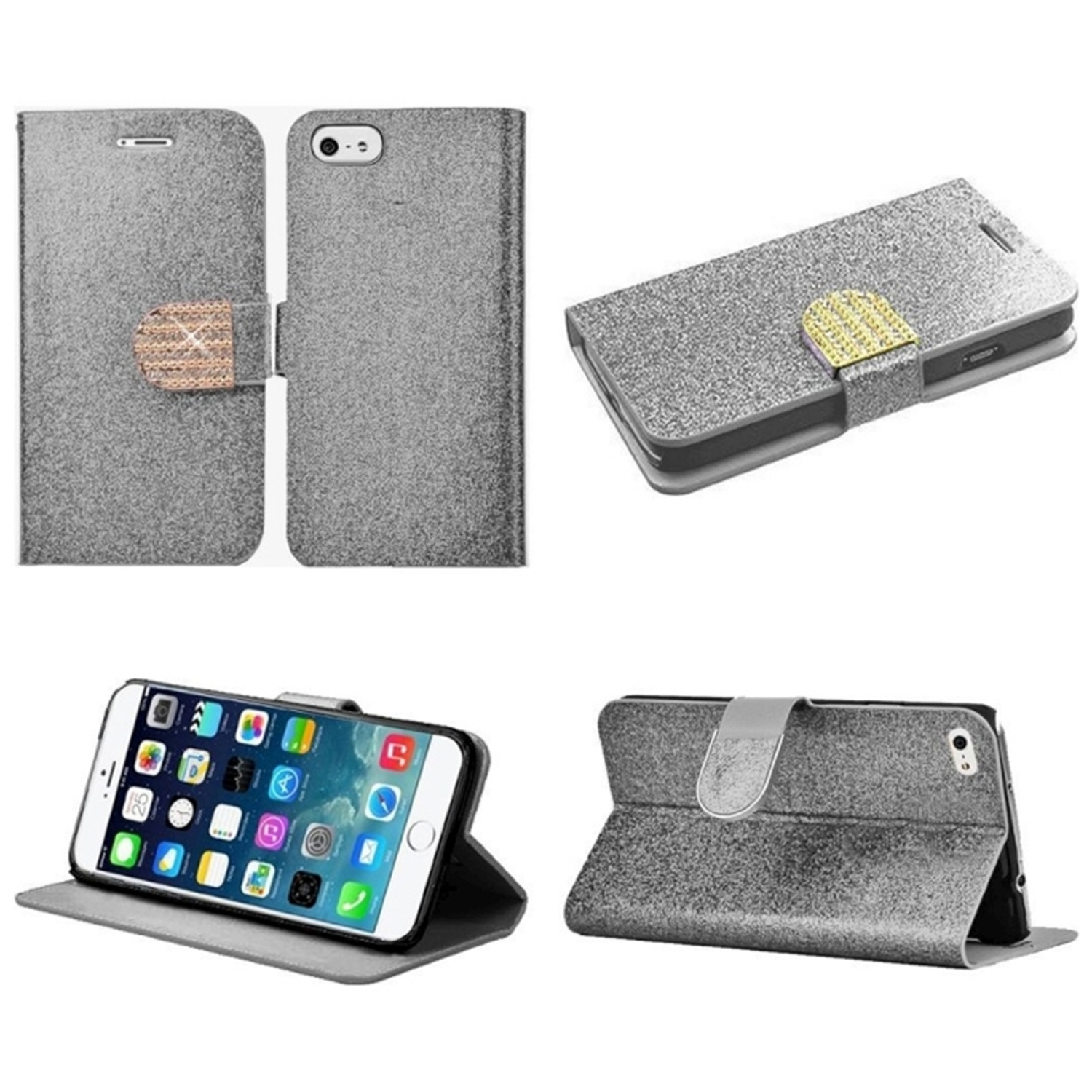 "Insten Flip Leather Glitter Cover Case w/stand/card holder/Diamond For iPhone 6 Plus / 6S Plus 5.5"" - Silver/Gold"