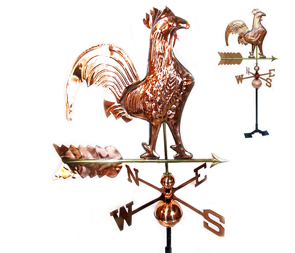 STKUSA Outdoor Rooster Weathervane Polished Copper, Roof Mount by Weathervanes
