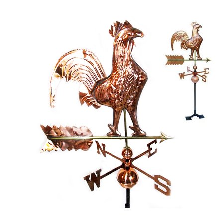 STKUSA Outdoor Rooster Weathervane Polished Copper, Roof (Polished Rooster)