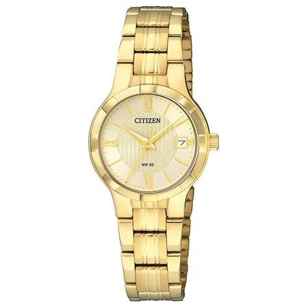 EU6022-54P Women's Gold Tone Gold Dial Date Casual Analog Quartz Watch Analog Gold Tone Wrist Watch