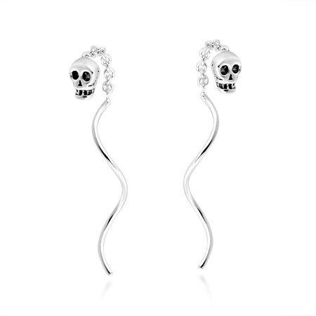 Sterling Silver Stick Earrings (Tiny Skull Chain Thread Spiral Stick Slide .925 Sterling Silver)