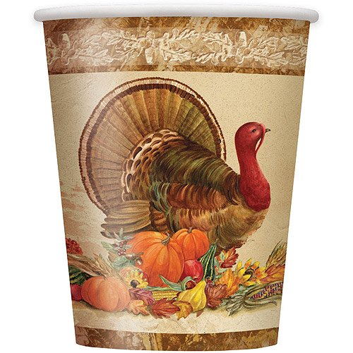 9 oz Rustic Turkey Thanksgiving Paper Cups, 8ct
