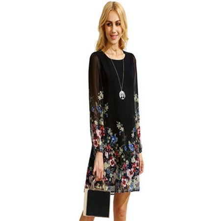 Women Multicolor Round Neck Long Sleeve Floral Print Chiffon - Floral Chiffon Dress