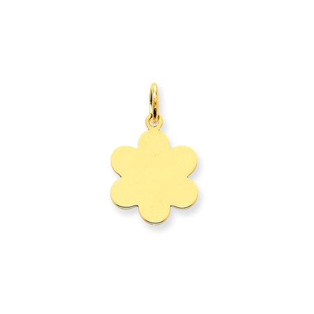 14kt Yellow Gold Plain .018 Gauge Engravable Flower Disc Pendant Charm Necklace Shaped Scalloped Fine Jewelry For Women Gift Set
