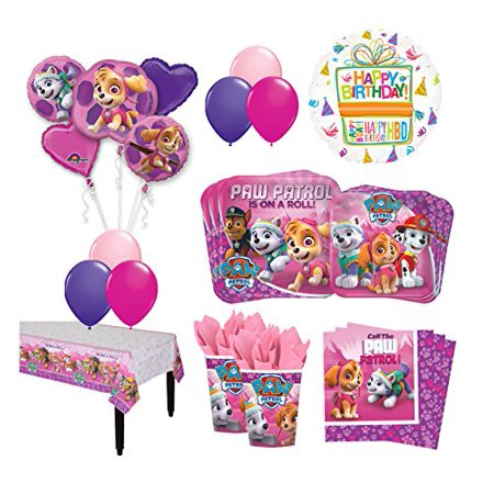 The Ultimate 8 Guest 53pc Paw Patrol Girls Skye and Everest Birthday - Paw Patrol Party Supplies