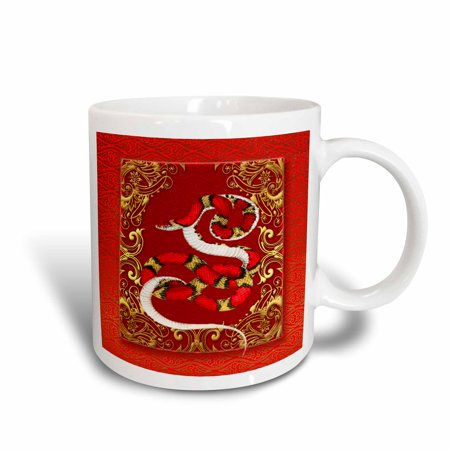 3dRose Chinese Zodiac Year of the Snake Chinese New Year Red, Gold and Black , Ceramic Mug,
