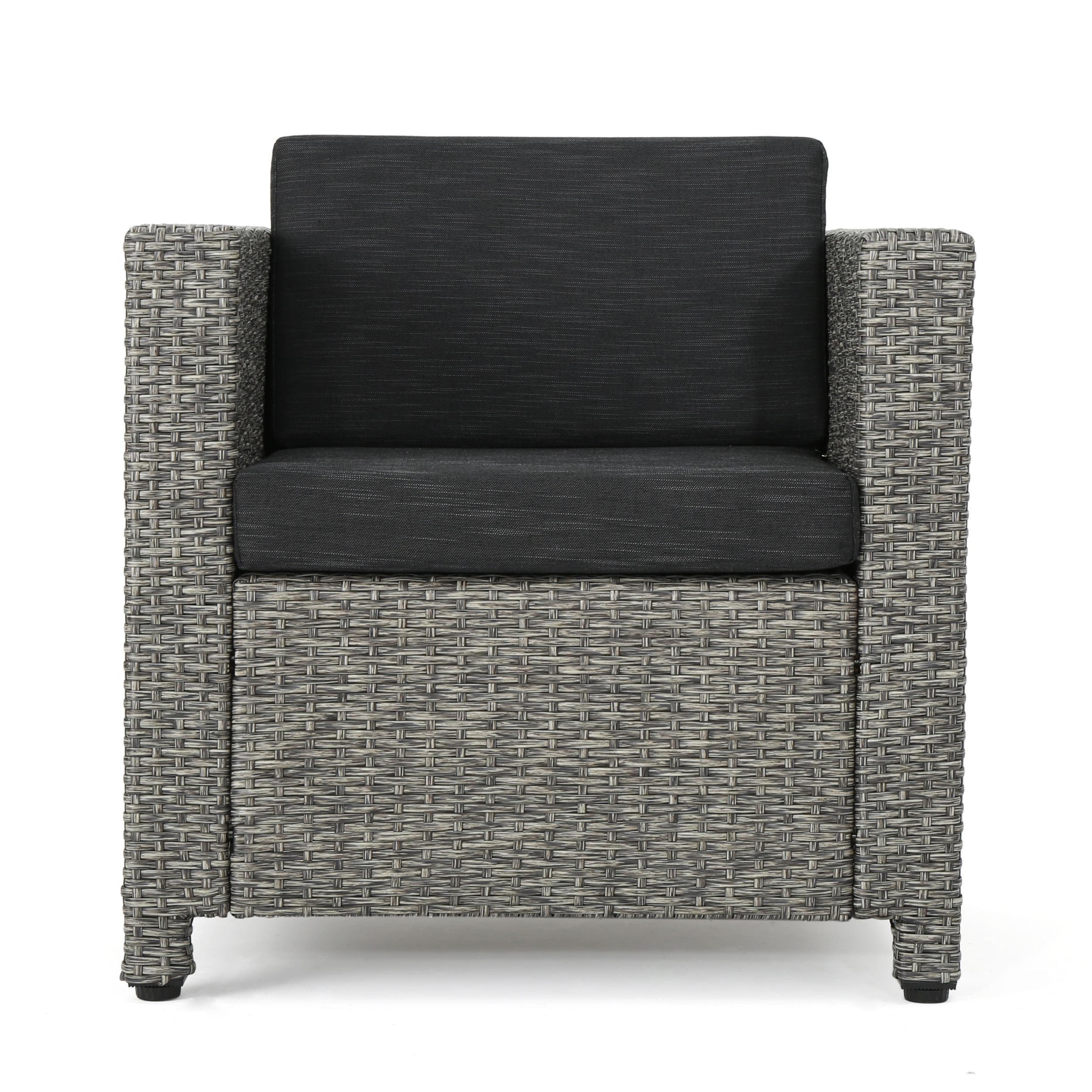 Pueblo Outdoor Wicker Club Chair with Dark Grey Water Resistant Cushions, Mixed Black