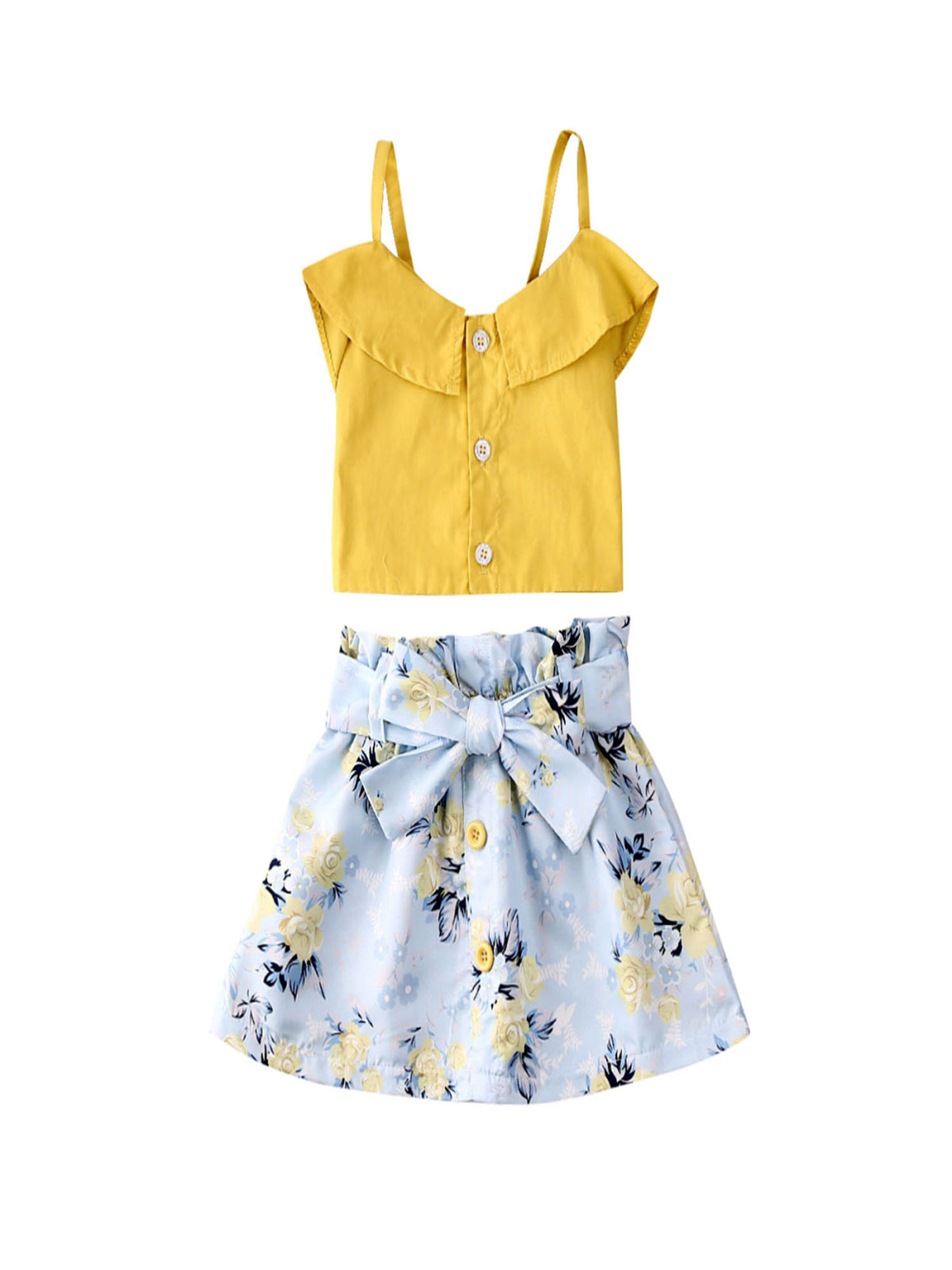 Yellow, 18-24 Months Toddler Baby Girls Shorts Clothes Ruffle Sleeveless Shirt Top with Shorts 2 Pcs Summer Pajamas Clothes