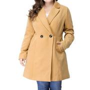 Women's Plus Size Winter Outwear Peacoat Lapel Coat Brown (Size 3X)