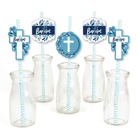 Baptism Blue Elegant Cross - Paper Straw Decor - Boy Religious Party Striped Decorative Straws - Set of 24 (Baptism Decor)