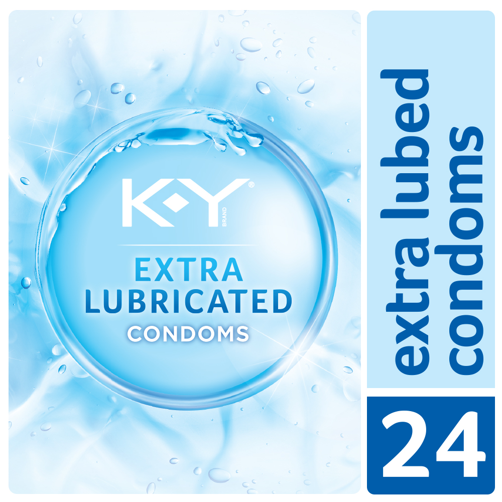 K-Y Condoms Extra Lubricated Latex Condoms, Ultra Thin with Extra Lubricant, 24 count