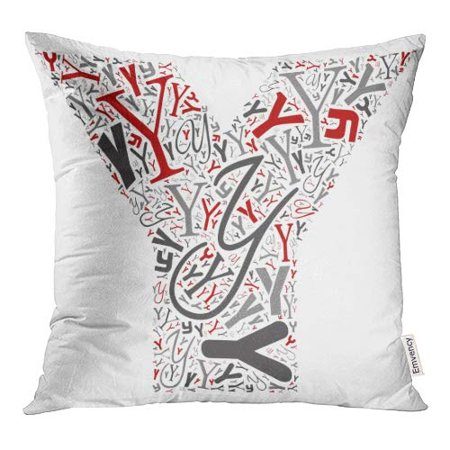 BOSDECO Conceptual Red Gray and Black Playful Funny Education Made of Letter Collection Group Pillow Case Pillow Cover 16x16 inch - image 1 of 1
