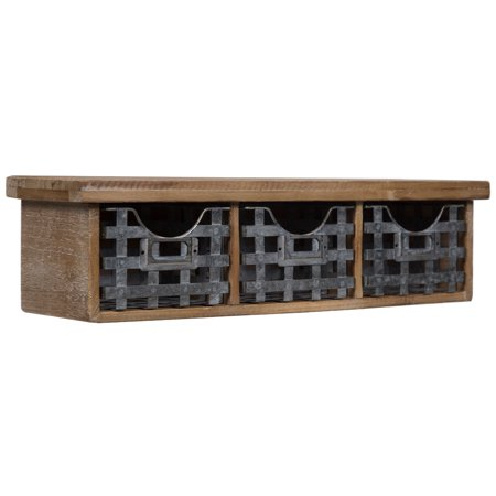 Gallery Solutions Reclaimed Wood Wall Organizer with 3 Metal Basket Bins