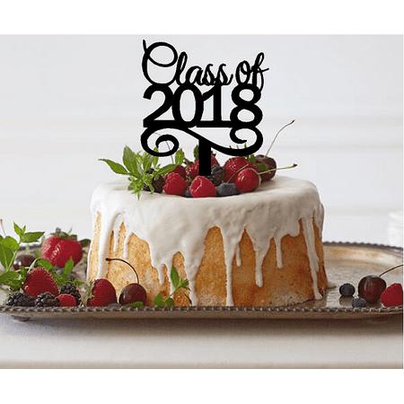 Black Class of 2018 School Graduation Cake Decoration Topper (Graduation Cakes Ideas)