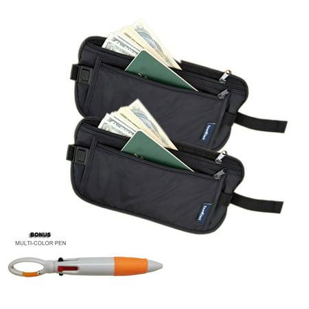 2 Pack Travel Pouch Hidden Passport ID Holder Compact Security Money Waist Belt Bag + MULTI COLOR PEN - Bag Of Money