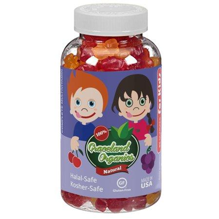 Graceland Organics 90 Kosher-Safe, Halal-Safe Gummy Bears Vitamins For Kids 2+ Years Old, Nutritional Supplement, Healthy Natural Colors & Flavors, Children Gummies Complete