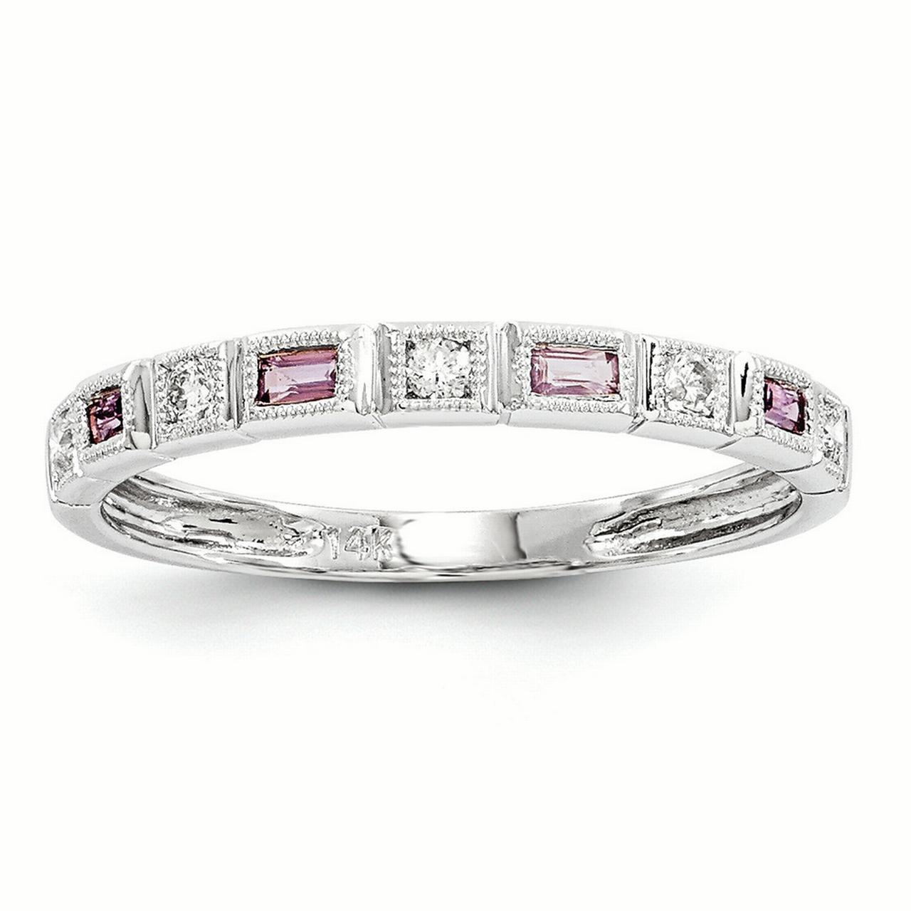 14k White Gold White Gold Diamond & Pink Sapphire Ring Band Ring Y6548SP A by