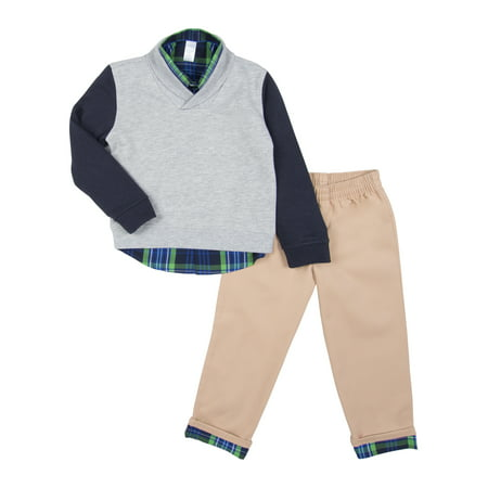 Boys Dressing Up Outfit (George Shawl Collar Sweater, Woven Button-up Shirt & Pants 3pc Outfit Set (Toddler)