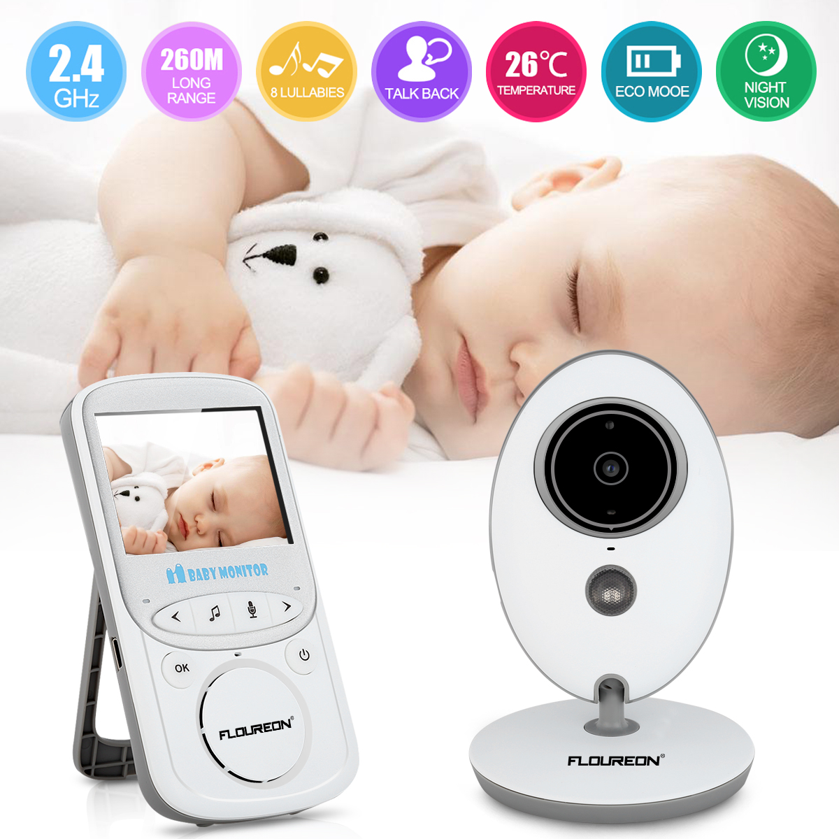 FLOUREON Video Baby Monitor Wireless with Digital Camera Night Vision 2 Way Audio Temperature Monitoring Lullabies Long Range and High Capacity Battery for Security 2.4 inch LCD Screen