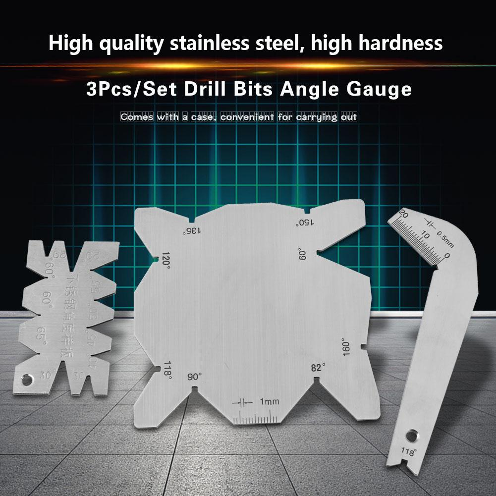 Angle Meter Stainless Steel Drill Bits Angle Gauge Drill Sharpener Tools S//S Angle Measuring Gauge 3Pcs//Set