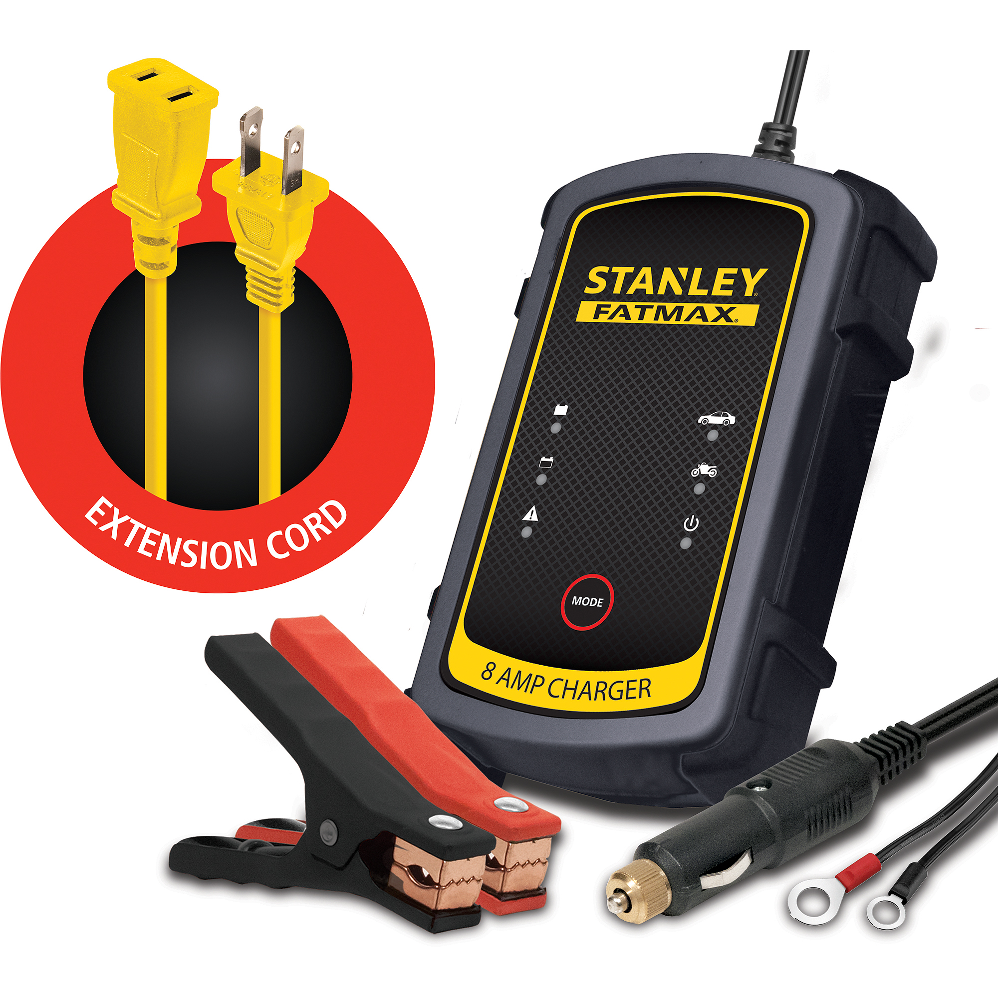 Stanley FatMax 8A Battery Charger *Bonus Extension Cord* Bundle