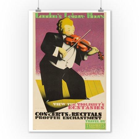 London Underground - Leisure Hours - Concerts & RecitalsPoster (artist: Cooper) England c. 1933 (9x12 Art Print, Wall Decor Travel Poster) - Halloween London Underground