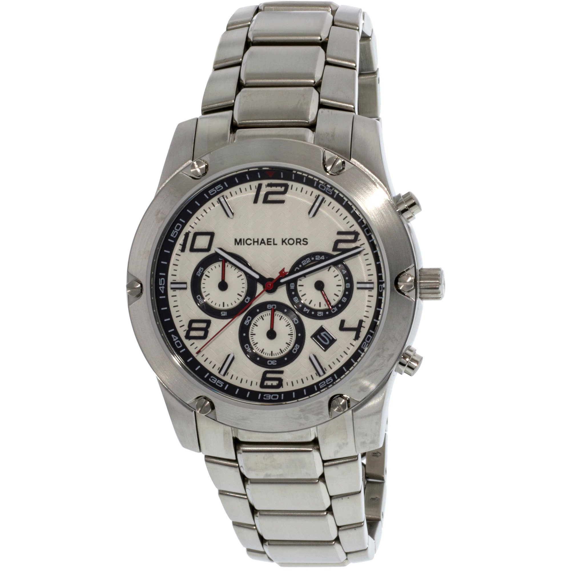 63afc060838c Michael Kors Men s Caine MK8472 Silver Stainless-Steel Plated Japanese  Quartz Dress Watch
