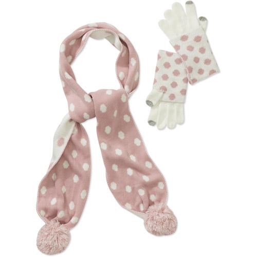 Dearfoam's Polka Dot Scarf And Glove 2 P