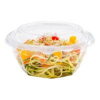 Basic Nature Round Clear PLA Plastic Lid - Fits 24 and 32 oz To Go Bowls, Compostable - 500 count box